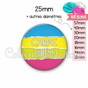 Cabochon en résine epoxy Carpe Diem (025MUL03)