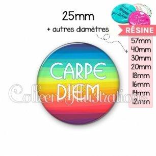 Cabochon en résine epoxy Carpe Diem (025MUL04)