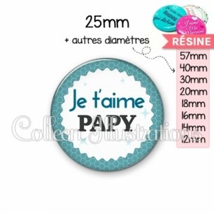 Cabochon en résine epoxy Je t'aime papy (028BLE02)