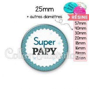 Cabochon en résine epoxy Super papy (028BLE02)
