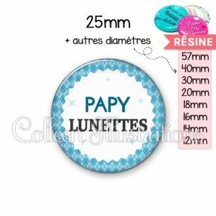 Cabochon en résine epoxy Papy lunettes (028BLE03)