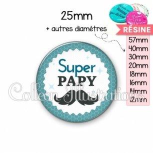 Cabochon en résine epoxy Super papy (028BLE04)