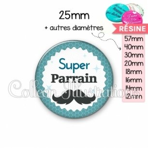 Cabochon en résine epoxy Super parrain (028BLE04)