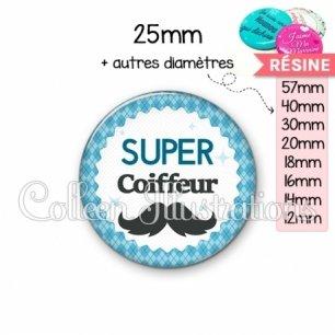 Cabochon en résine epoxy Super coiffeur (028BLE06)