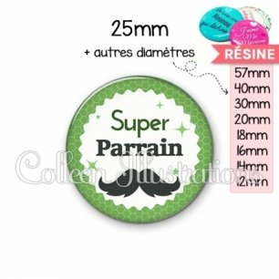 Cabochon en résine epoxy Super parrain (028VER01)