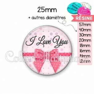 Cabochon en résine epoxy I love you (029ROS01)