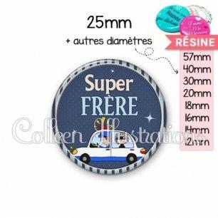 Cabochon en résine epoxy Super frère (031BLE01)