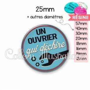 Cabochon en résine epoxy Ouvrier qui déchire (032BLE02)
