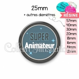 Cabochon en résine epoxy Super animateur (034BLE01)