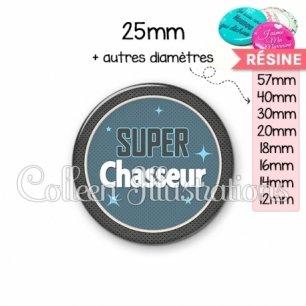 Cabochon en résine epoxy Super chasseur (034BLE01)