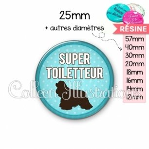 Cabochon en résine epoxy Super toiletteur (035BLE01)