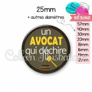 Cabochon en résine epoxy Avocat qui déchire (035MAR01)