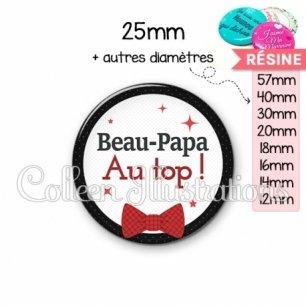 Cabochon en résine epoxy Beau-papa au top (036NOI01)