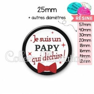 Cabochon en résine epoxy Papy qui déchire (036NOI01)
