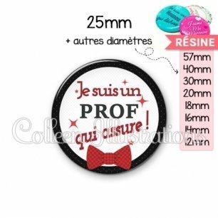 Cabochon en résine epoxy Prof qui assure (036NOI01)