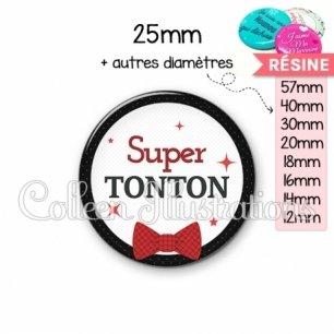 Cabochon en résine epoxy Super tonton (036NOI01)