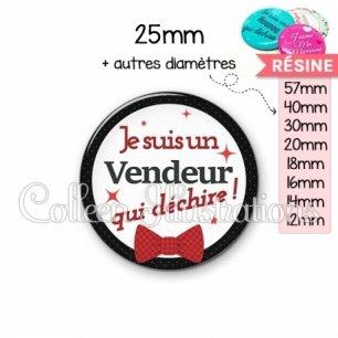 Cabochon en résine epoxy Vendeur qui déchire (036NOI01)