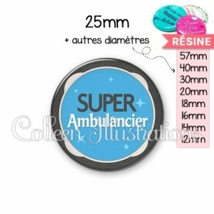 Cabochon en résine epoxy Super ambulancier (037BLE04)