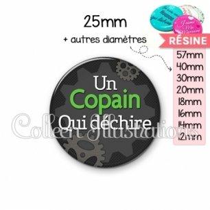 Cabochon en résine epoxy Copain qui déchire (038GRI01)
