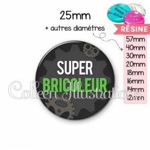 Cabochon en résine epoxy Super bricoleur (038GRI01)
