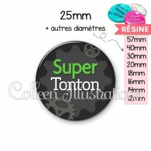 Cabochon en résine epoxy Super tonton (038GRI01)