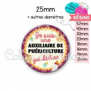 Cabochon en résine epoxy Auxiliaire de puériculture qui déchire (044VIO01)