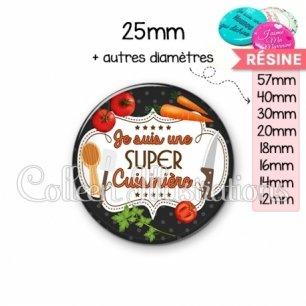 Cabochon en résine epoxy Super cuisinière (045NOI03)
