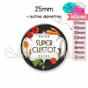 Cabochon en résine epoxy Super cuistot (045NOI03)
