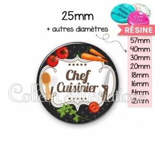 Cabochon en résine epoxy Chef cuisinier (045NOI04)
