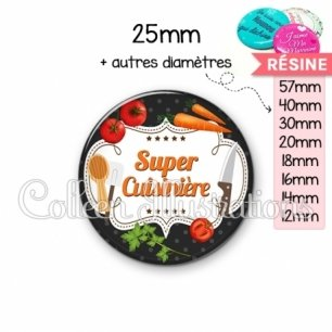 Cabochon en résine epoxy Super cuisinière (045NOI05)