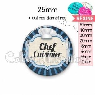 Cabochon en résine epoxy Chef cuisinier (048BLE01)