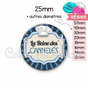 Cabochon en résine epoxy La reine des cannelés (048BLE01)