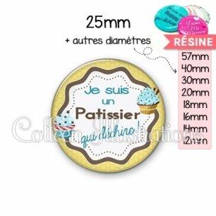Cabochon en résine epoxy Patissier qui déchire (049JAU01)