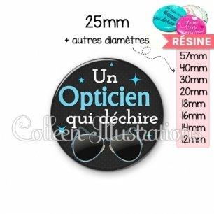 Cabochon en résine epoxy Opticien qui déchire (053NOI04)