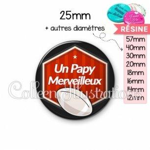 Cabochon en résine epoxy Papy merveilleux (055ROU02)