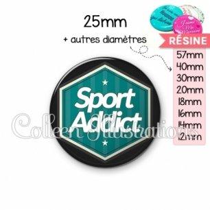 Cabochon en résine epoxy Sport addict (055VER01)