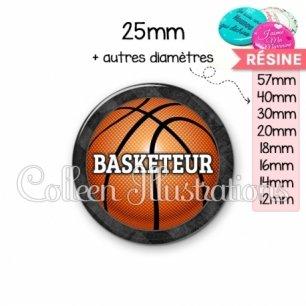 Cabochon en résine epoxy Basketteur (062GRI01)