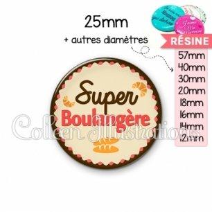 Cabochon en résine epoxy Super boulangère (064MAR02)