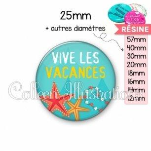 Cabochon en résine epoxy Vive les vacances (069BLE01)