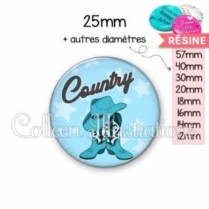 Cabochon en résine epoxy Danse country (071BLE01)