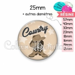 Cabochon en résine epoxy Danse country (071MAR01)