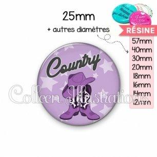 Cabochon en résine epoxy Danse country (071VIO01)