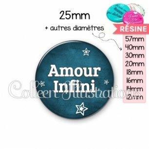 Cabochon en résine epoxy Amour infini (079BLE01)