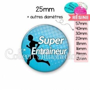 Cabochon en résine epoxy Super entraineur (082BLE01)