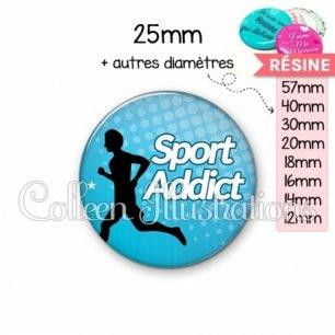 Cabochon en résine epoxy Sport addict (082BLE01)
