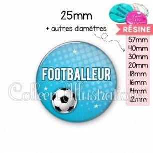 Cabochon en résine epoxy Footballeur (082BLE02)