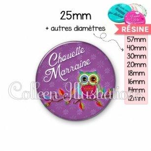 Cabochon en résine epoxy Chouette marraine (087VIO04)