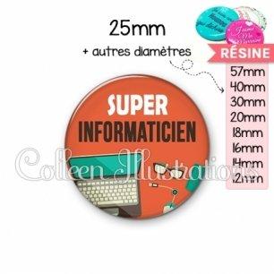 Cabochon en résine epoxy Super informaticien (088ORA01)