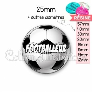 Cabochon en résine epoxy Footballeur (089MUL01)