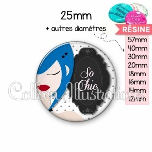 Cabochon en résine epoxy So chic (110BLA02)